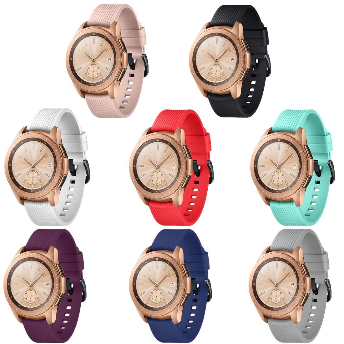 GinCoband 8PCS Sport Bands Replacement for Samsung Galaxy Watch 42mm,46mm,No Tracker (8-Colors for Galaxy Watch(42MM), Buckle Design)