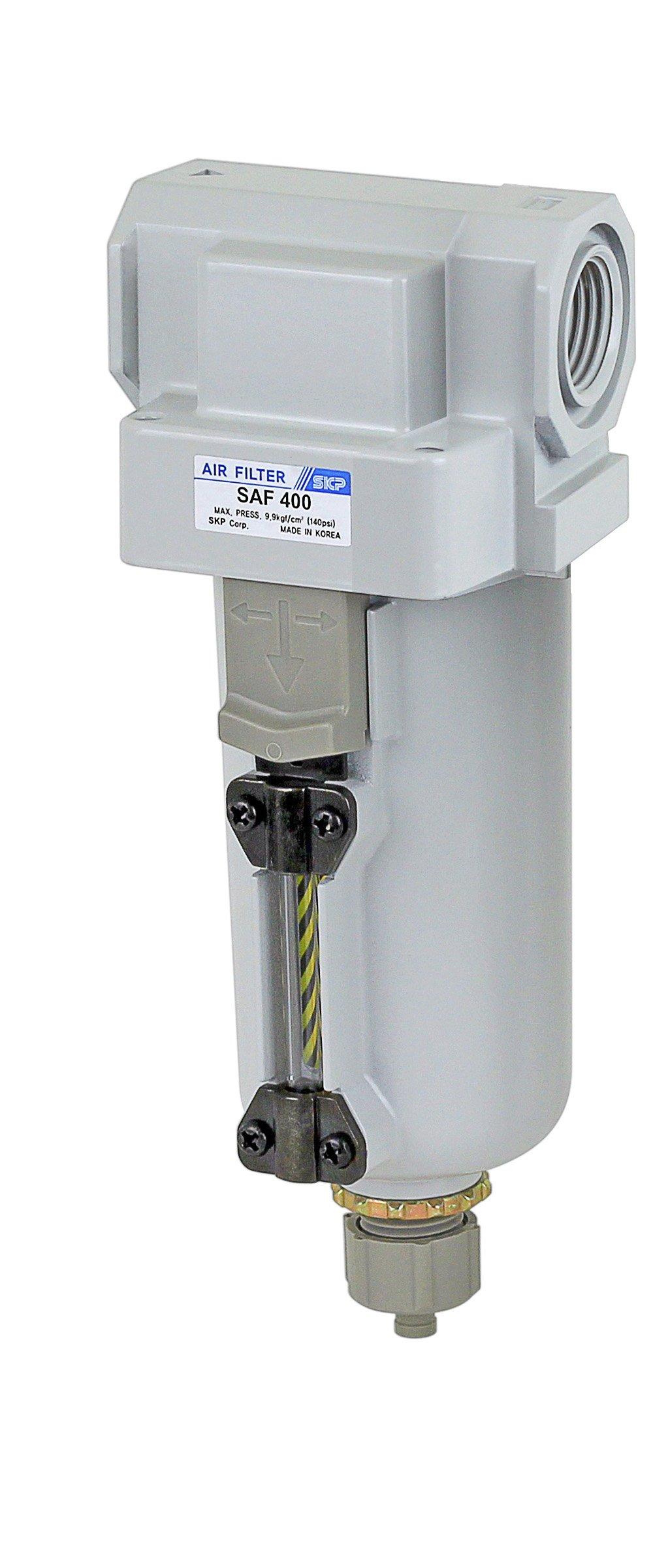 PneumaticPlus SAF400-N04B-MEP Compressed Air Particulate Filter 1/2'' NPT, 10 Micron - Metal Bowl w/Manual Drain, Bracket