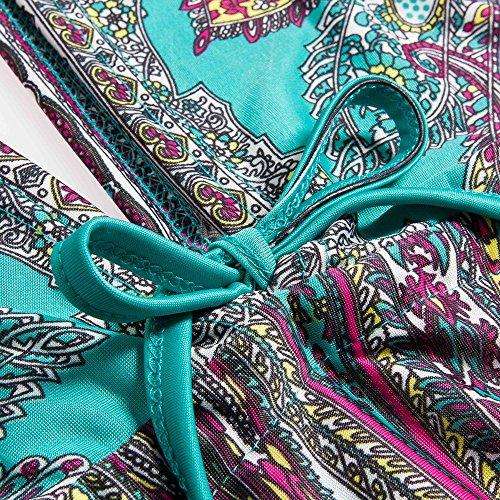 Beauty7 Cover Up Gran Talla Blusa Mujer Suelta del Bikini de Playa del Verano Mangas Corta V Cuello Kimono Impresiones Florales Vestido Bohemia Oversized