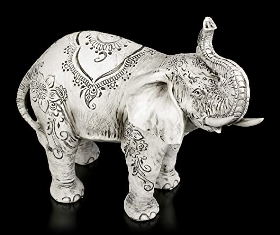 Size 27cm dise/ño de Elefante Nemesis Now Henna-Figura Decorativa 22 cm Color Blanco