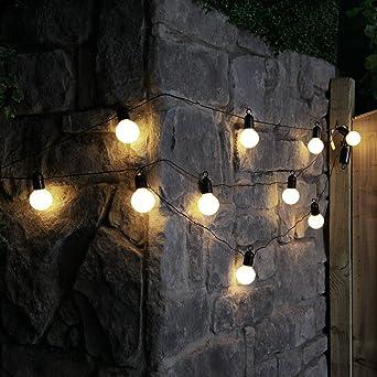 Guirlande Lumineuse Festoon Style Guinguette 10 Ampoules Opaques Incassables à Led Blanc Chaud Intérieur Extérieur Waterproof à Piles 4 50 Mètres