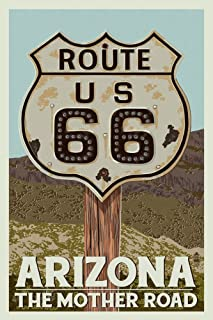 product image for Arizona - Route 66 - Letterpress (36x54 Giclee Gallery Print, Wall Decor Travel Poster)