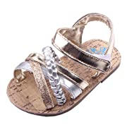 Beeliss Baby Sandals Rubber Sole Summer Shoes (0-6 Months, Gold)
