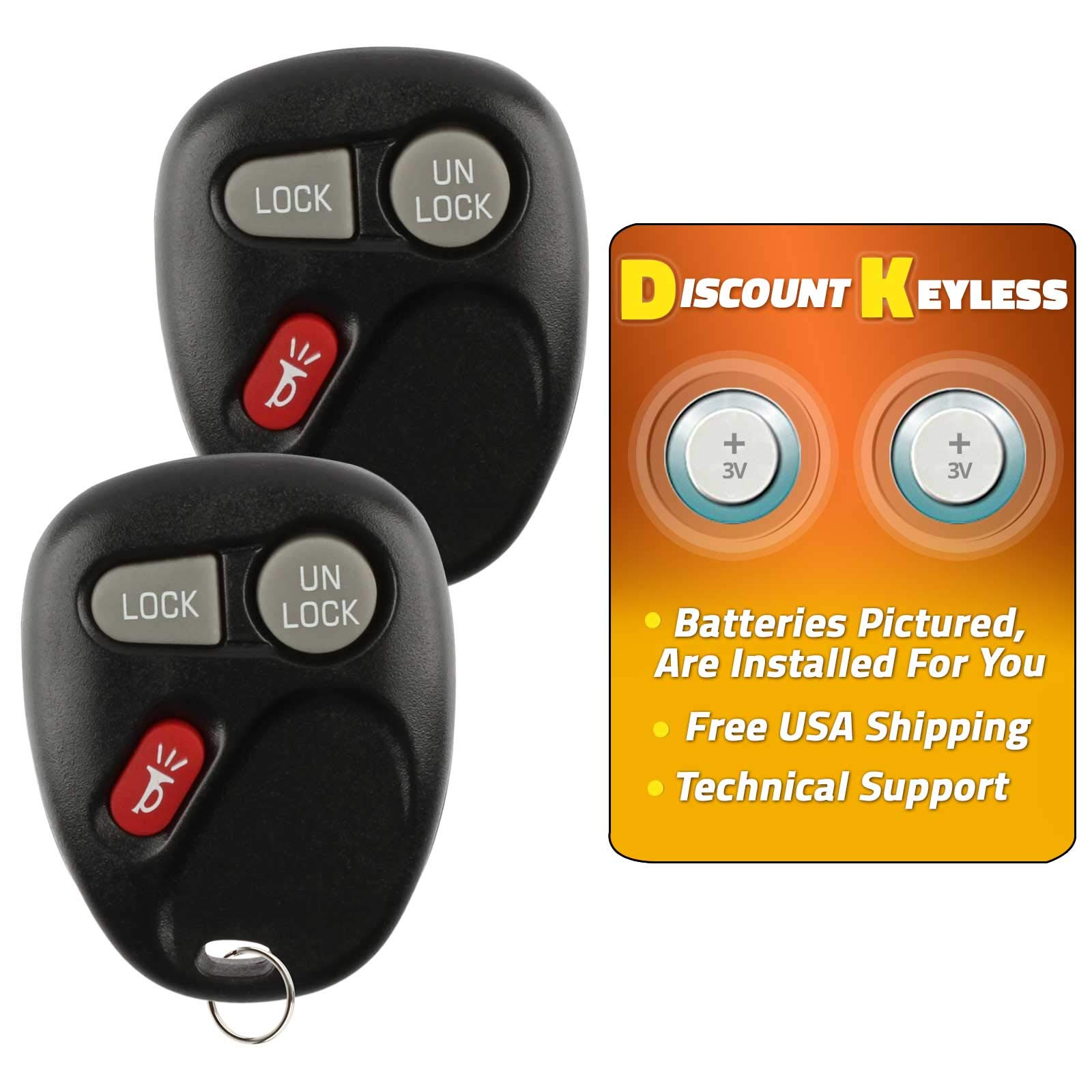 2 Pack Keyless2Go Replacement for Keyless Entry Car Key Vehicles That Use 3 Button 15732803 KOBUT1BT