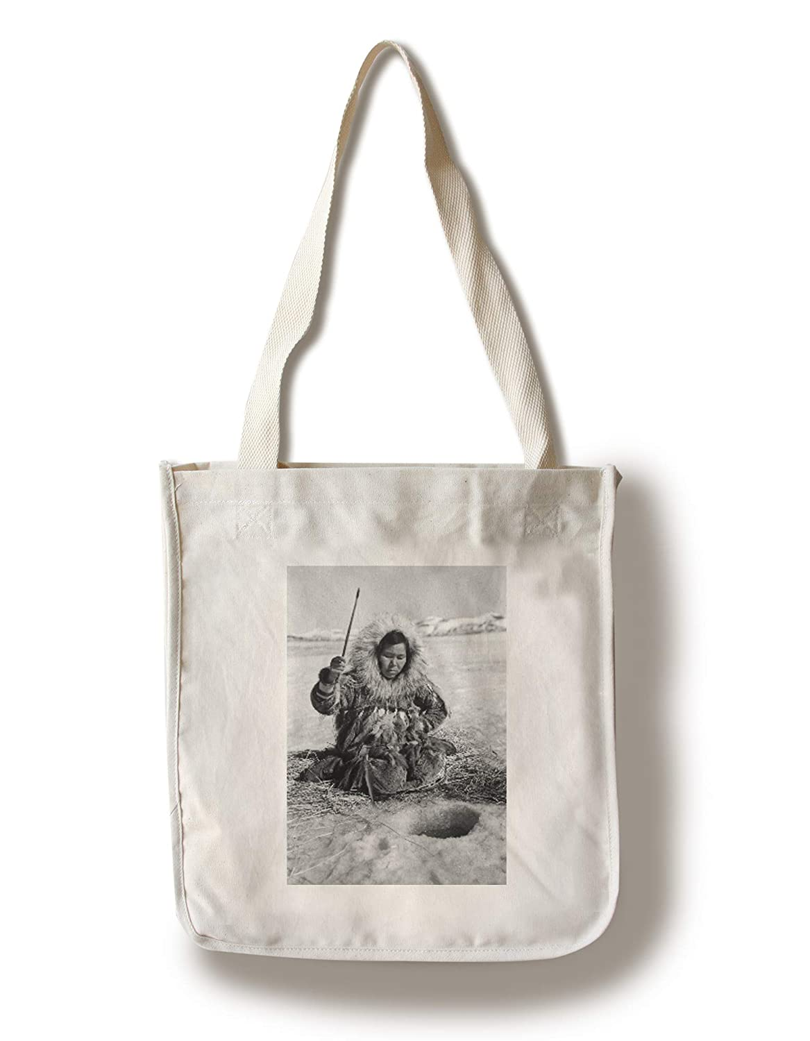 Eskimo Woman釣りthrough iceアラスカ州の写真 Canvas Tote Bag LANT-3068-TT B0182QNJOW  Canvas Tote Bag