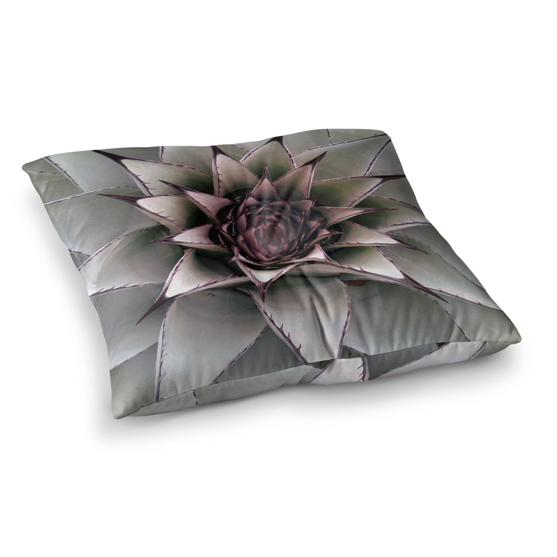 Kess InHouse Suzanne Carter Succulent Green Black 23 x 23 Square Floor Pillow
