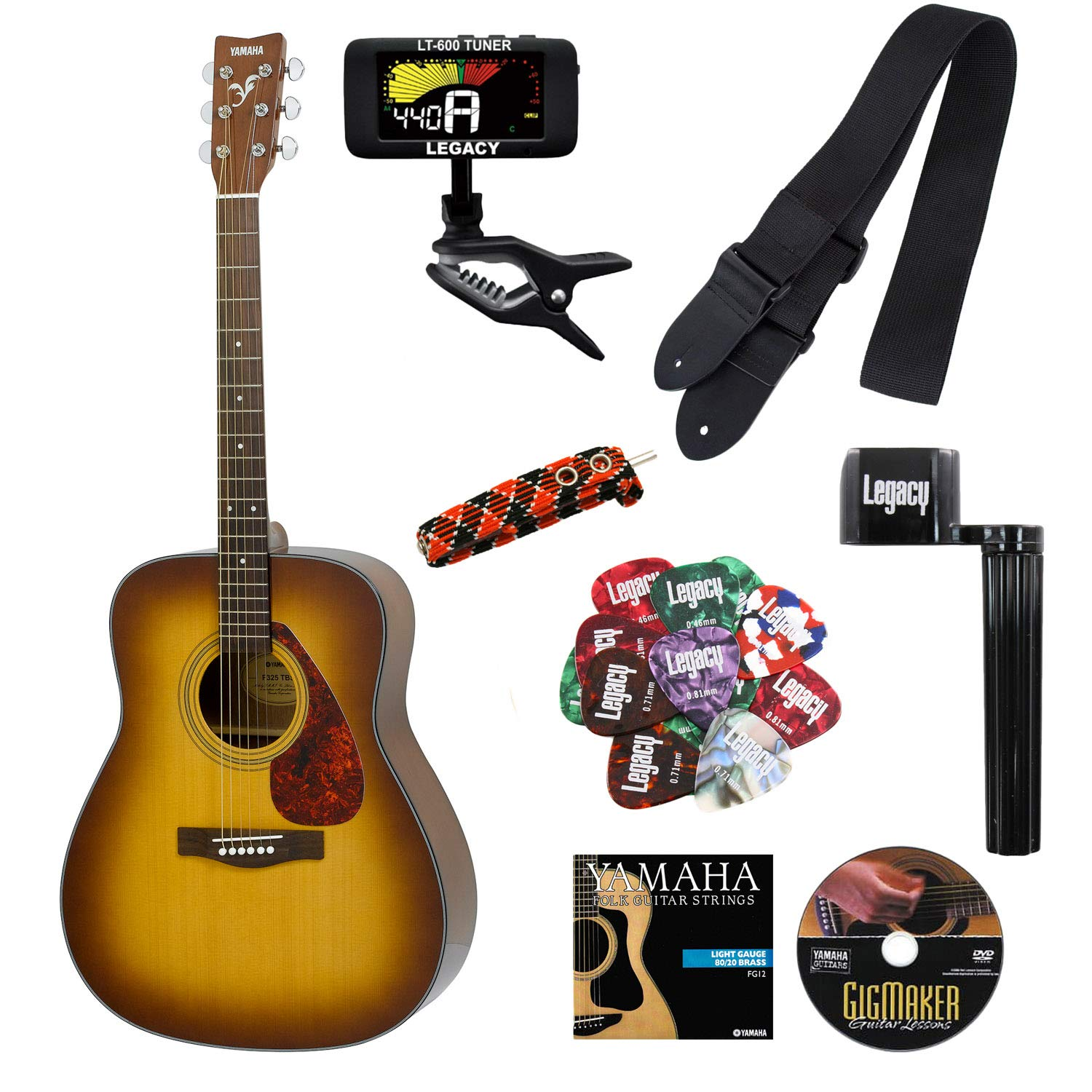 Yamaha F325D Folk Guitar with Legacy Accessory Bundle