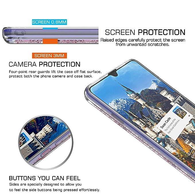 LeYi Funda Huawei Mate 20X Silicona Purpurina Carcasa con HD Protectores de Pantalla,Transparente Cristal Bumper Telefono Gel TPU Fundas Case Cover para ...