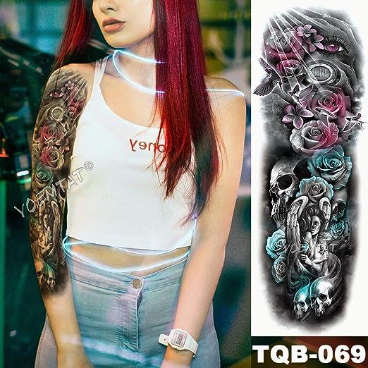 3pcsBig Brazo Manga Tatuaje Azul Rosa Mariposa corazón Impermeable ...