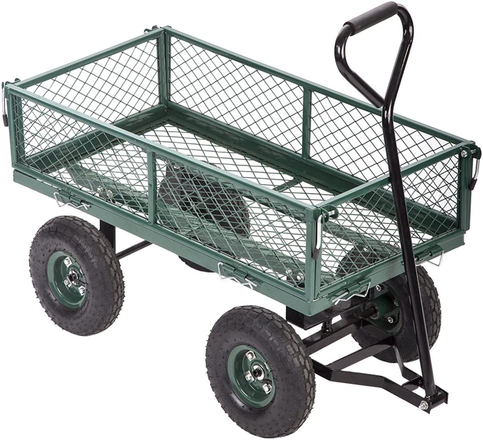 FDW Garden Dump Wagon Utility Cart Outdoor Steel Heavy Duty Beach Lawn Yard  Landscape, Green