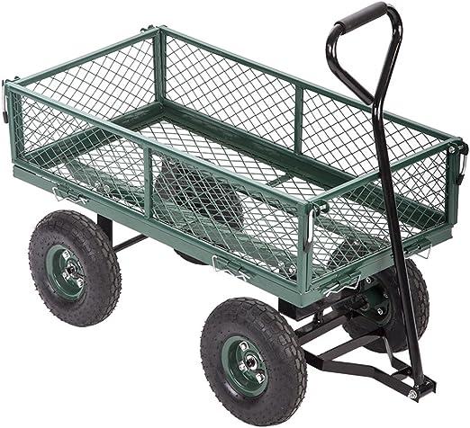 BestMassage - Carro de vagón de acero resistente, para jardín, césped, remolque, yarda: Amazon.es: Jardín
