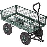 Garden Carts Yard Dump Wagon Cart Lawn Utility Cart Outdoor Steel Heavy Duty Beach Lawn Yard Landscape
