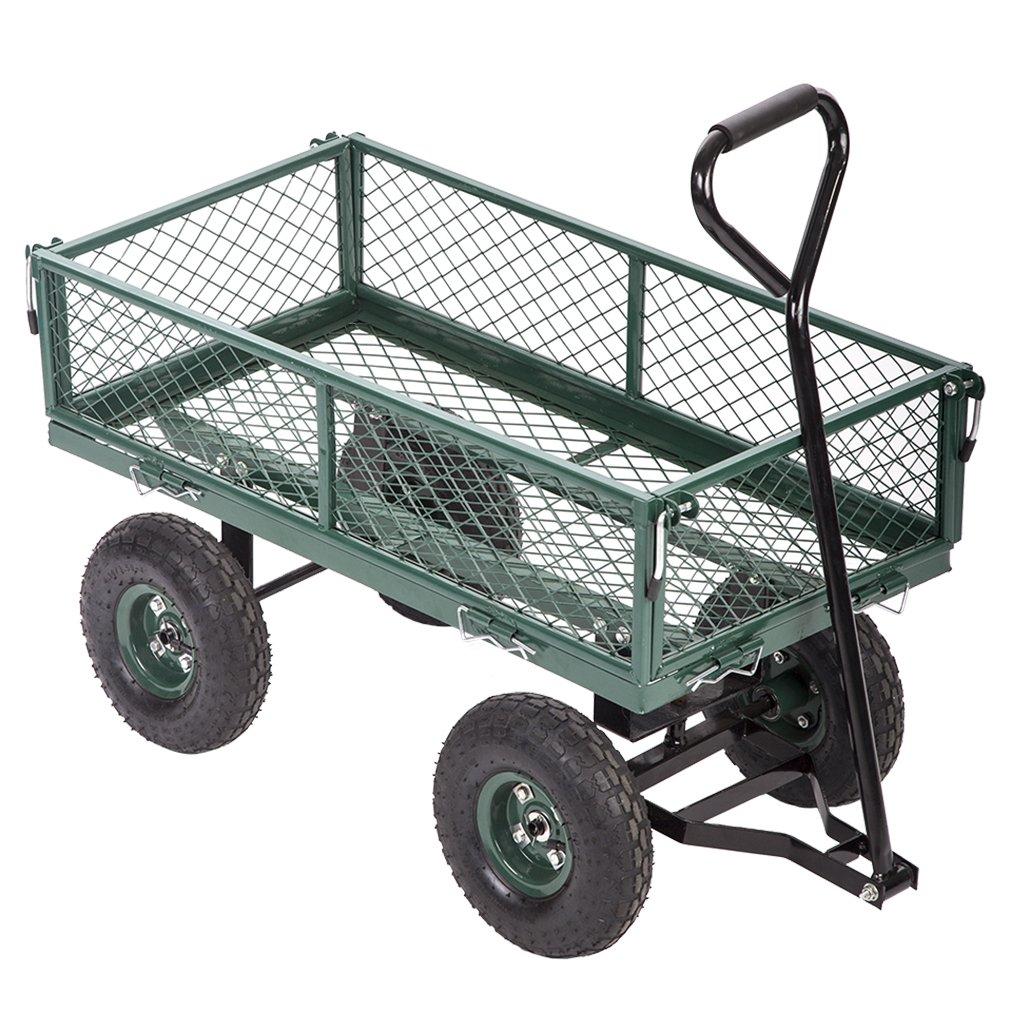 FDW Garden Carts Yard Dump Wagon Cart Lawn Utility Cart Outdoor Steel Heavy Duty Beach Lawn Yard Landscape
