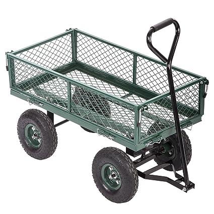 FDW Garden Dump Wagon Utility Cart Outdoor Steel Heavy Duty Beach Lawn Yard  Landscape, Green