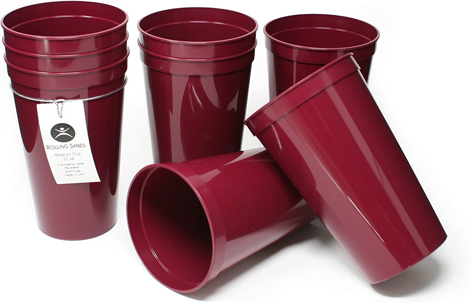 Rolling Sands 22 Ounce Reusable Plastic Stadium Cups Maroon, 8 Pack, Made in USA, BPA-Free Dishwasher Safe Plastic Tumblers