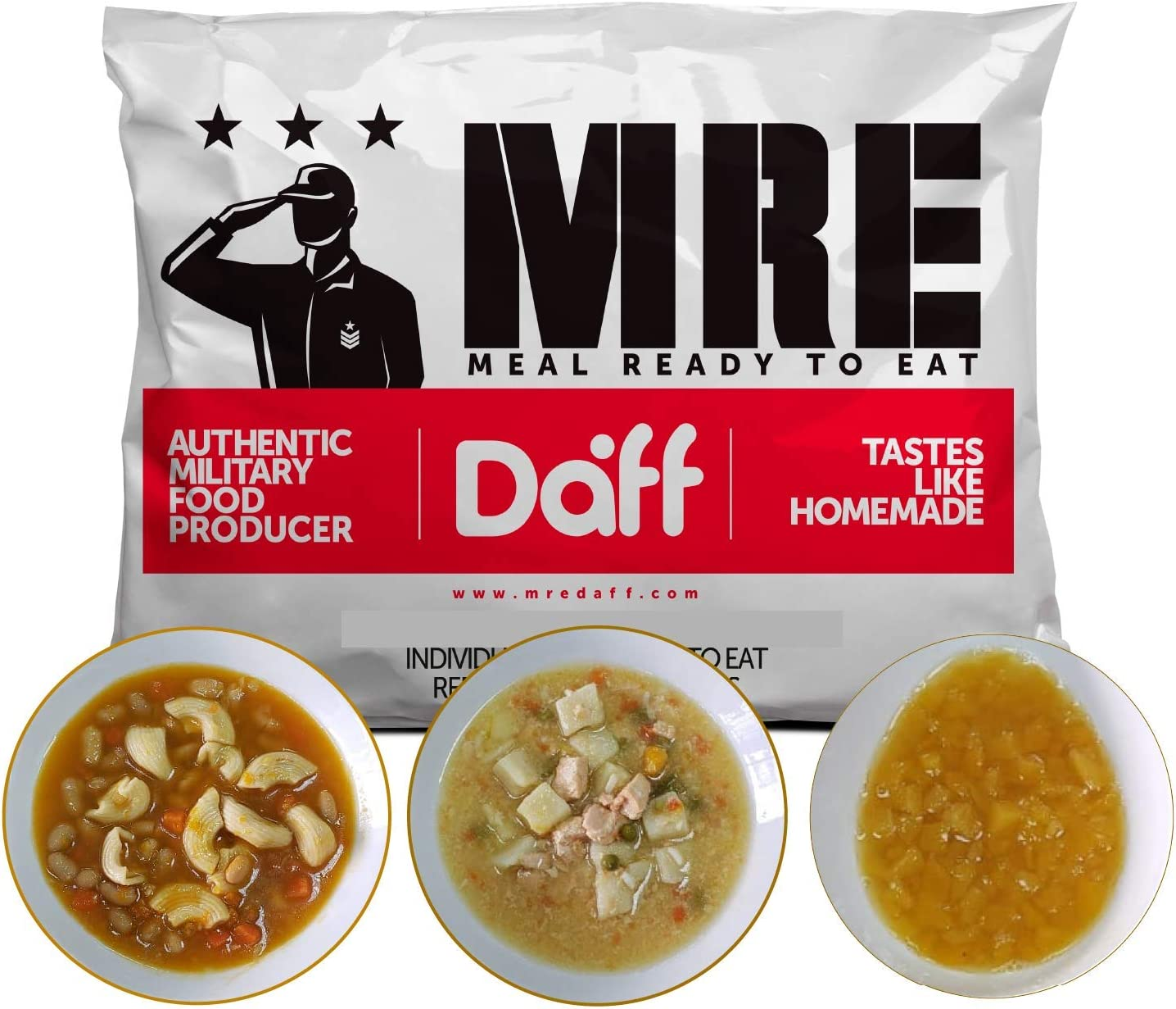 MRE Meals Military Style by DAFF. Full Day Pack 2 (1 Peach breakfast, 1 Pasta meal, 1 Salmon Stew meal) (3 Single meals). Ideal for Camping, Survival, and as Emergency Food. [1000 Calories/Bag]