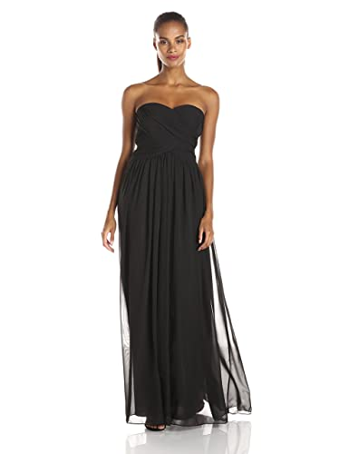 JS Boutique Women's Strapless Ruched Bodice Chiffon Gown