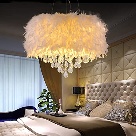 new styles d2a38 2b127 Surpars House White Feather Crystal Chandelier 4-Light Pendant Light