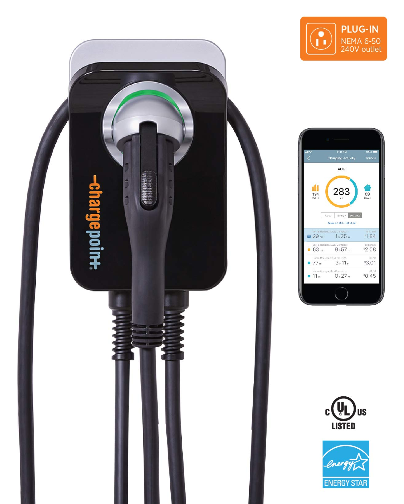 ChargePoint Home WiFi Enabled Electric Vehicle (EV) Charger - Level 2 240V EVSE, 32A Electric Car Charger for All EVs, UL Listed, ENERGY STAR Certified, Plug-in (uses NEMA 6-50 outlet), 25 Ft Cable