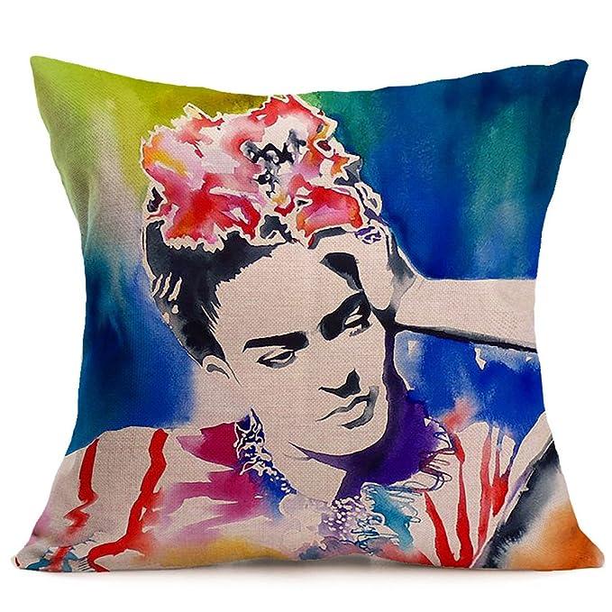 JLHua 4 pcs Frida Kahlo Self-portrait Cotton Linen Pillow Case Cover,18
