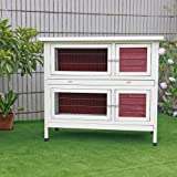 "Petsfit 45.5""Lx24.5""Wx40.8""H Rabbit Hutch Small Pet Wooden House for Indoor/Outdoor Use,Two Story With Run"