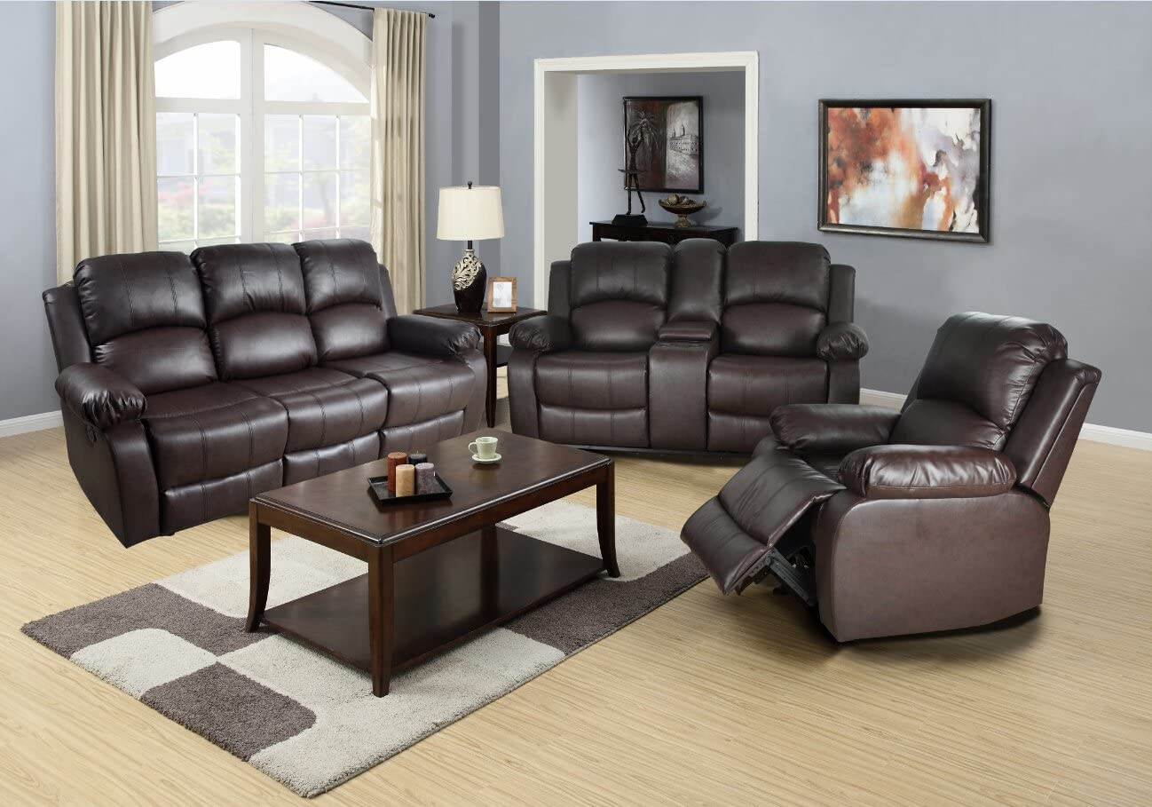 Amazon Com Lifestyle Three Piece Recliner Set Sofa Loveseat Chair Brown Furniture Decor