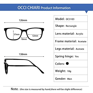 ebf966a2c57 Amazon.com  Men s RX Eyeglasses Frame Fashion Non Prescription Eyewear  Rectangular Lightweight Glasses (Black 52MM)  Clothing