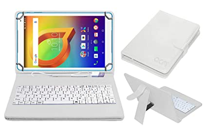official photos ed780 87d2b Acm USB Keyboard Case for Alcatel A3 10 (Volte) Tablet Cover Stand with  Free Micro USB OTG - White