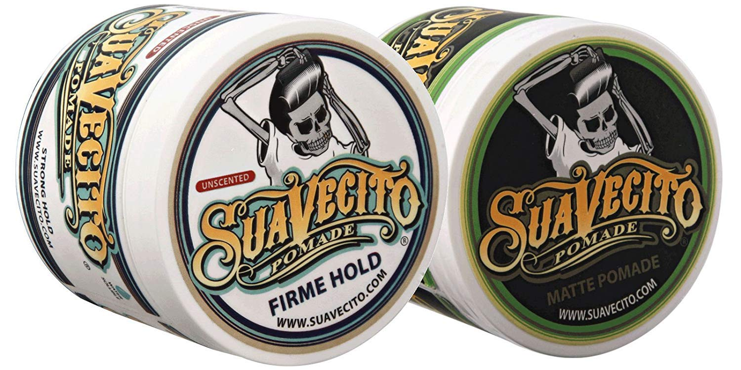 Suavecito Duo Bundle. Original Firme Unscented (4 ounce) and Matte Pomade (4 ounce) Variations. Strong Hold Styling Hair Pomades for Men.