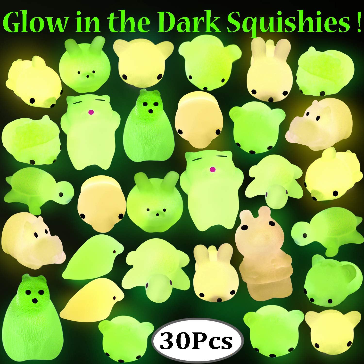 Outee Squishy Mochi Animals, 30 Pcs Glow in The Dark Squishy Mochi Animal Stress Toys Squeeze Mochi Squishy Toys Soft Squishy Stress Relief Toys Squishy Squeeze