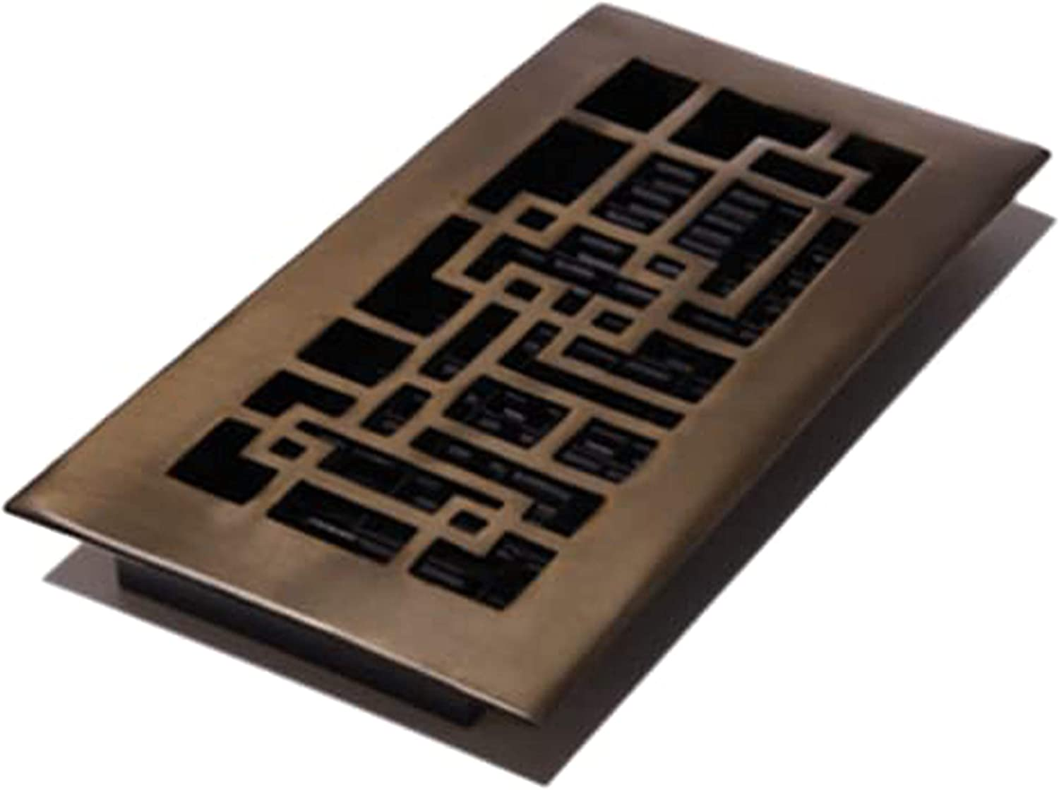Decor Grates AB410-RB 4-Inch by 10-Inch Abstract Floor Register, Solid Brass with Rubbed Bronze Finish