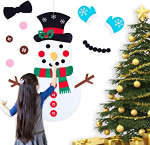 Felt Christmas Snowman for Kids Wall, 30 Pcs Cute Christmas Ornaments Kit with Hook and Loop Nativity Set Crafts Gifts, for Toddlers DIY Christmas Home Door Classroom Hanging Decorations