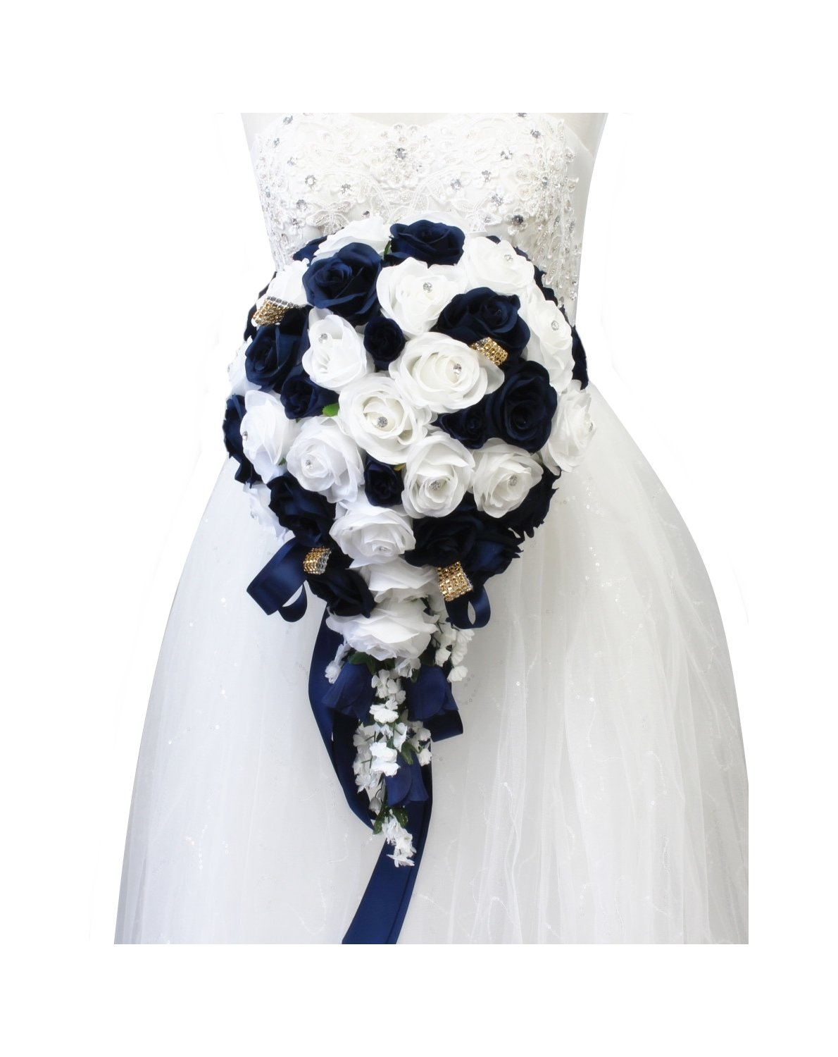 Angel Isabella Build Your Wedding Package-Artificial Flower Bouquet Corsage Boutonniere Rose Calla Lily Navy Gold Wedding Theme (Cascade Bouquet) by Angel Isabella