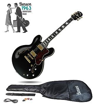 Guitarra eléctrica semi-acústica de cuerpo hueco de Benson ES, con doble corte,