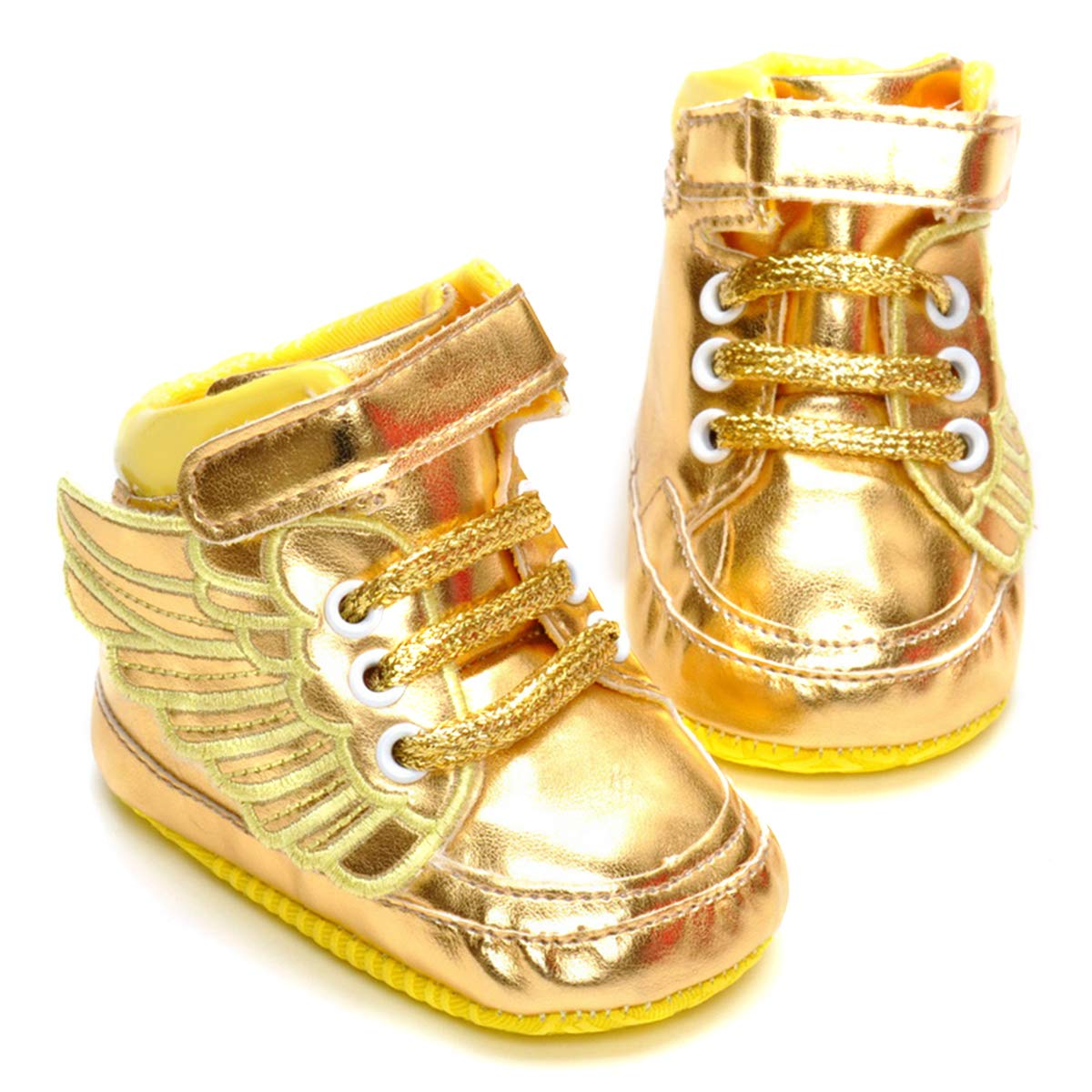 LIVEBOX Infant Baby Girls' Angel Wings Premium Soft Cotton Sole Prewalker Toddler Sneaker Shoes (S: 0~6 Months,Golden)