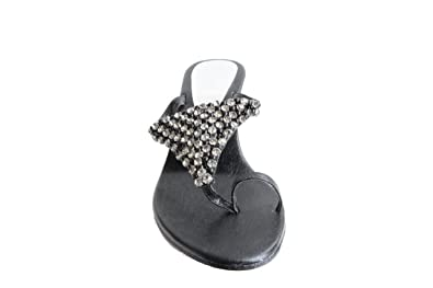 Rene Caovilla Resnais face villa Swarovski strap flat tong sandals 35 12 beige system Lady's