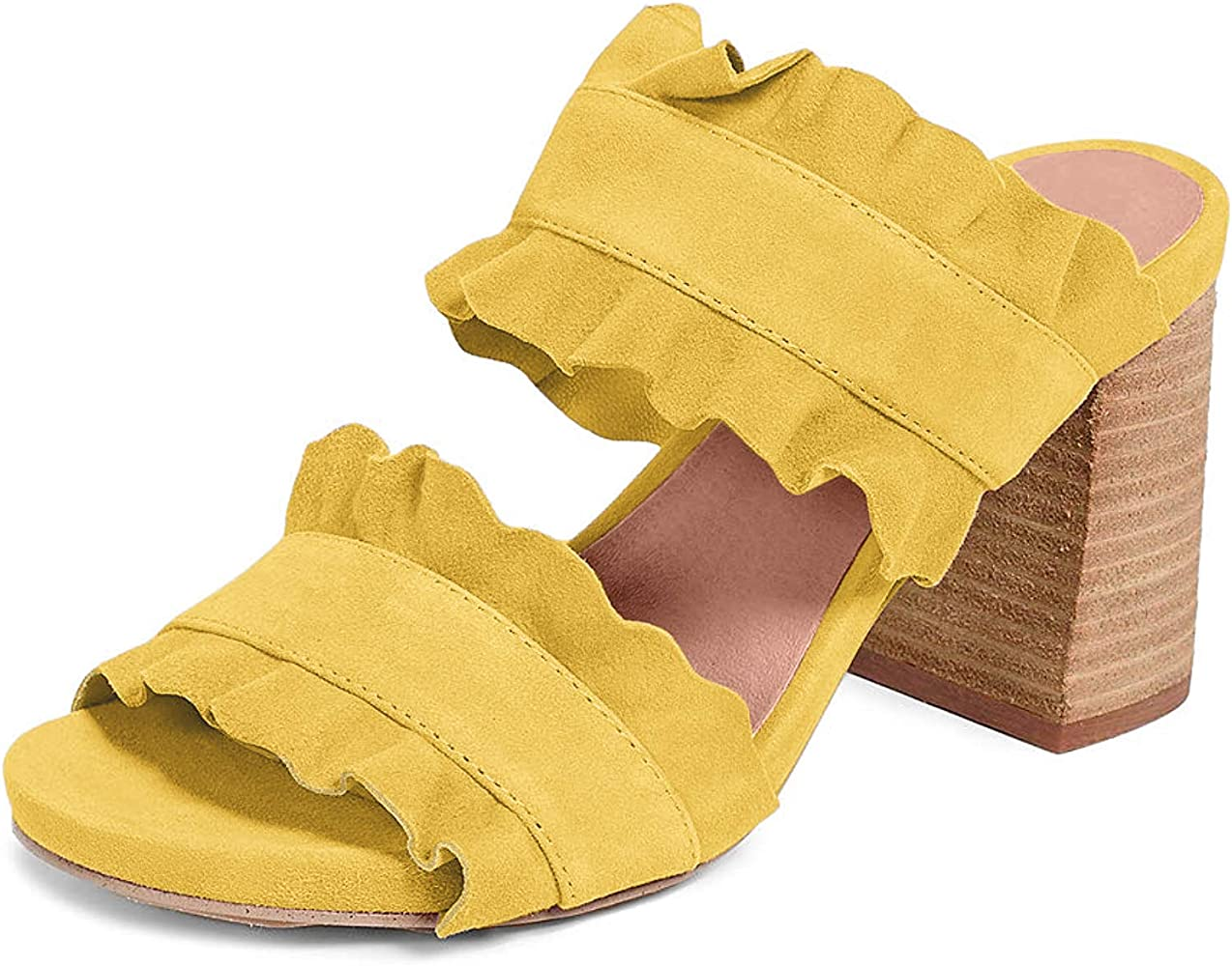 Free People Rosie Ruffle Heel Yellow 38