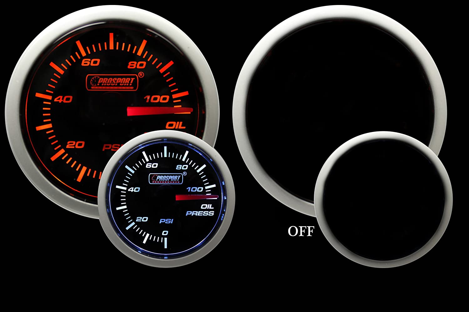 Amazon.com: Oil Pressure Gauge- Electrical Amber/white Performance ...
