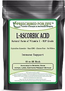 Prescribed for Life Ascorbic Acid (L) - Pure USP Grade Vitamin C - Crystalline Powder 40-80 Mesh, 2 kg