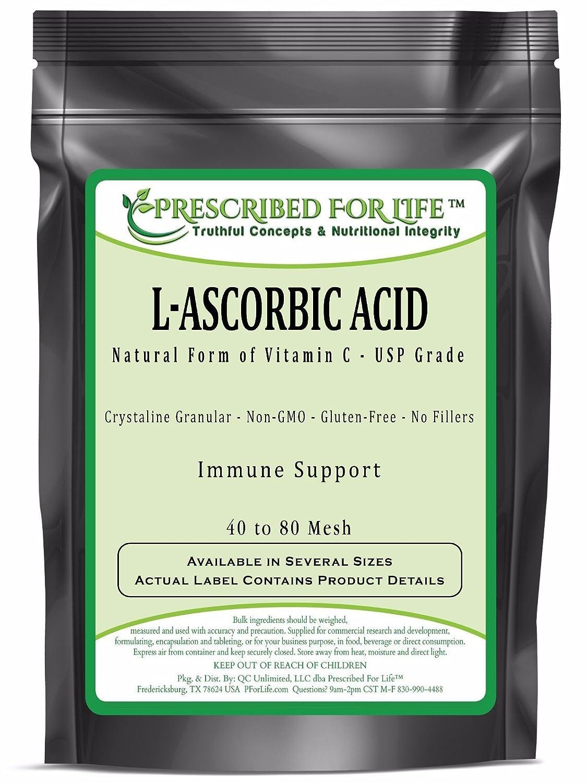 Ascorbic Acid (L) - Pure USP Grade Vitamin C - Crystalline Powder 40-80 Mesh, 1 kg