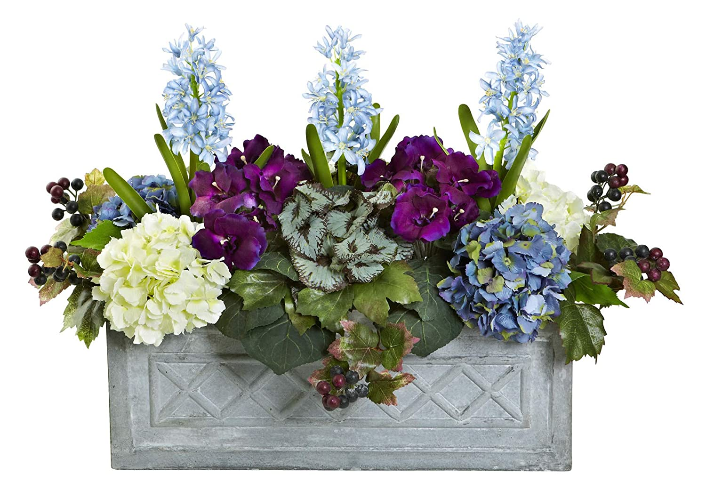 Amazon Com Artificial Flowers Hyacinth And Hydrangea Arrangement