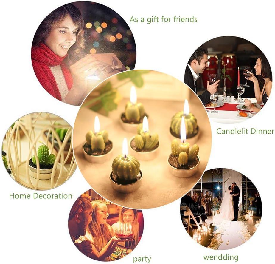 ALLOMN Candela Decorativa Cactus Tea Candles Light Design Senza Spazzatura 3 Stili 6 pc per Natale Festa del Partito Ognissanti Nozze