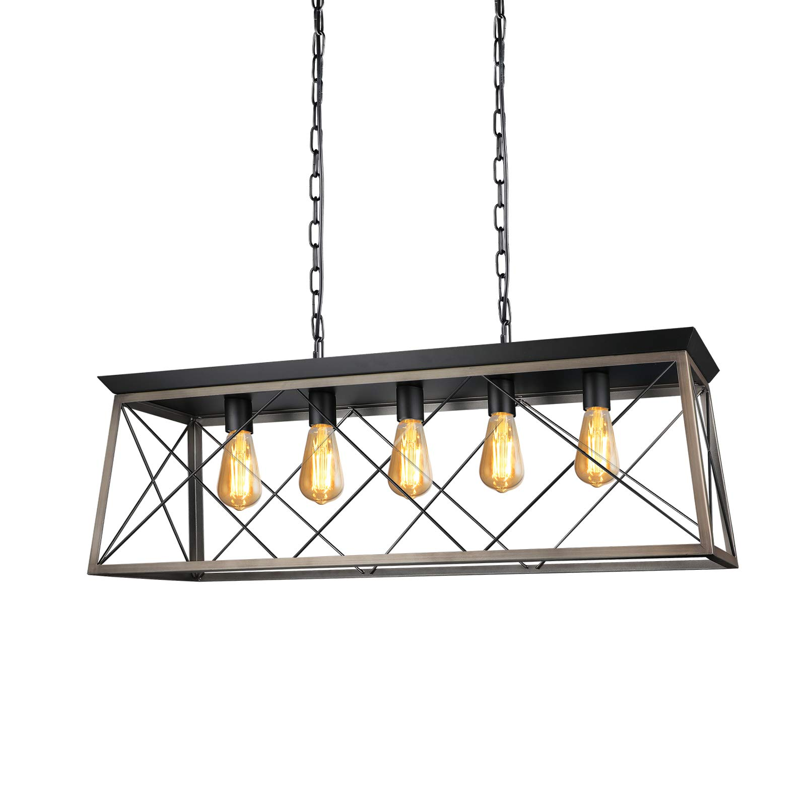Paragon Home 5-Lights Rectangle Rustic Metal Pendant Light, Modern Linear Island Ceiling Lighting Fixture Industrial Pendant Lights for Dining Room Kitchen Living Room, E26 Base (Bulbs Not Included) by Paragon Home (Image #3)
