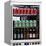 KingsBottle 140 Can 1-Door Under Counter Beverage Cooler with Heating Glass, Stainless Steel