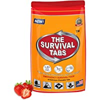 Survival Tabs 2 Day 24 Tabs Emergency Food Survival Food Meal Replacement MREs Gluten Free and Non-GMO 25 Years Shelf Life Long Term Food Storage - Strawberry Flavor
