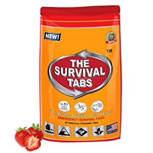 S.O.S. Rations Emergency Food Ration Survival Tabs- 2 days Package Gluten Free and Non-GMO 25 Years Shelf Life (24-tab pouch - Strawberry)