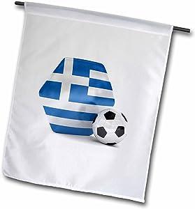 3dRose fl_181904_1 Greece Soccer Ball Garden Flag, 12 by 18-Inch