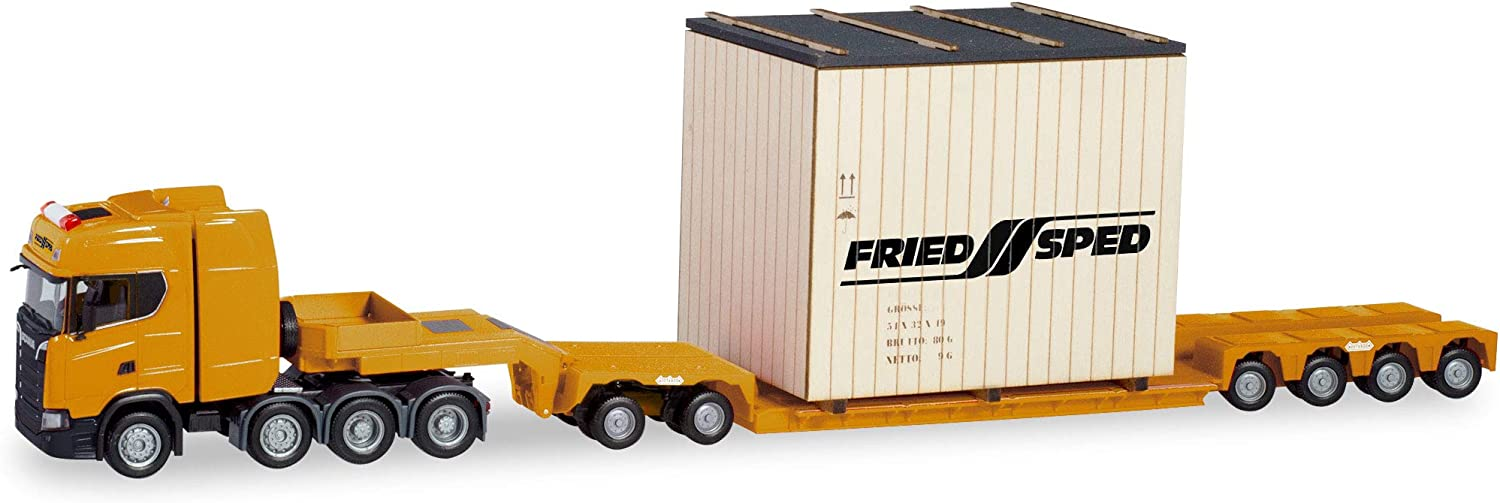 Model Truck Multicoloured herpa 310864 Tieflade-Sattelzug Low Bed semi-Trailer Scania CS with Friedsped Body Heavy Collectors Item