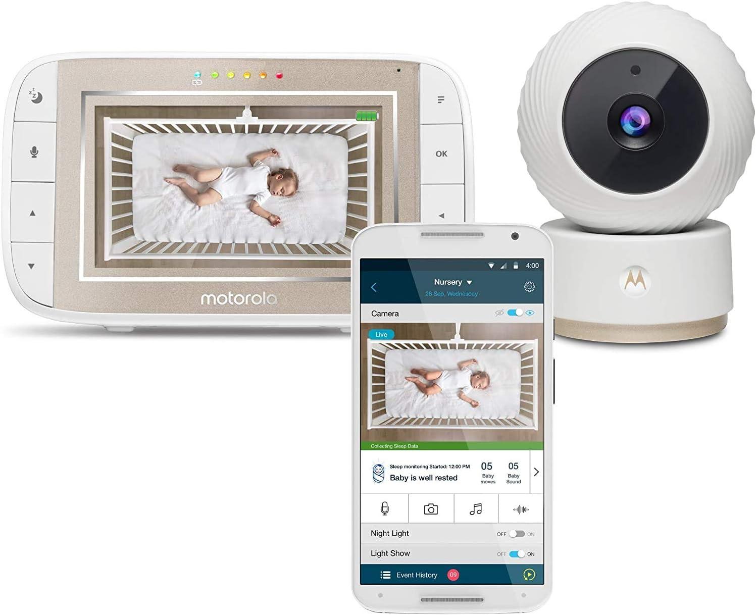 Motorola Halo+ Baby Video Monitor - Motorocompañero de supervisión y para dormir halo+ over-the-crib y aplicación conectada Hubble Wifi para teléfonos inteligentes y tabletas