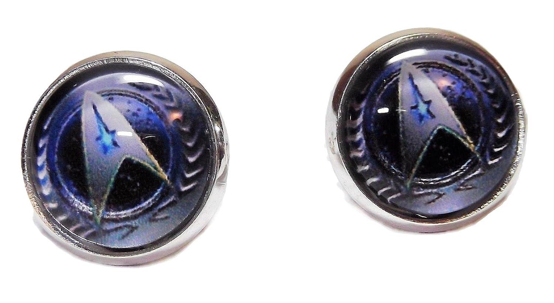 Star Trek The Next Generation Starfleet Command Glass Dome Stud Earrings